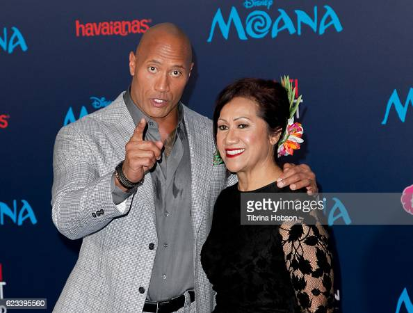 Dwayne Johnson and his mother Ata Johnson attend the premiere of Disney's 'Moana' at AFI FEST 2016 at the El Capitan Theatre on November 14 2016 in...