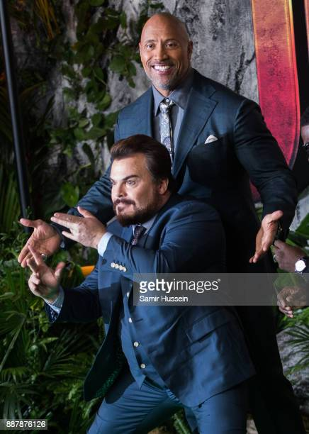 Dwayne Johnson and Jack Black attend the 'Jumanji Welcome To The Jungle UK premiere held at Vue West End on December 7 2017 in London England