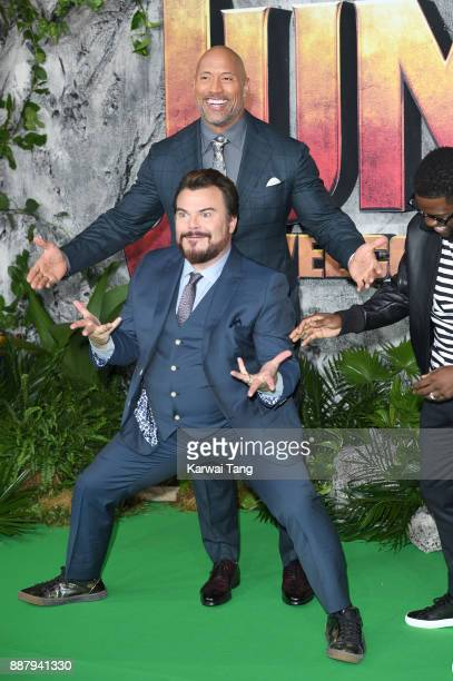 Dwayne Johnson and Jack Black attend the UK premiere of 'Jumanji Welcome To The Jungle' at Vue West End on December 7 2017 in London England