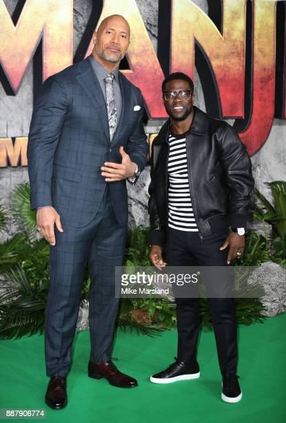Dwayne Johnson and Kevin Hart attend the 'Jumanji Welcome To The Jungle UK premiere held at Vue West End on December 7 2017 in London England