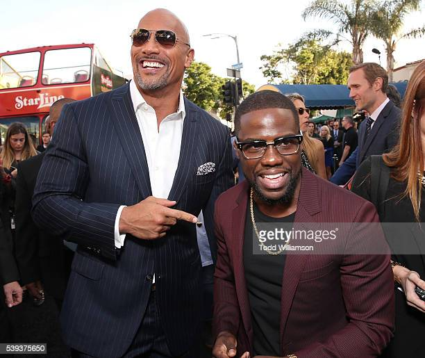 Dwayne Johnson and Kevin Hart attend the premiere Of Warner Bros Pictures' 'Central Intelligence' at Westwood Village Theatre on June 10 2016 in...