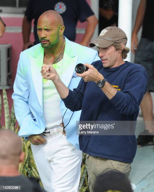 Dwayne Johnson and Michael Bay sighting on the set of 'Pain And Gain' on April 14 2012 in Miami Florida