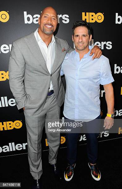 Dwayne Johnson and Stephen Levinson attend the HBO Ballers Season 2 Red Carpet Premiere and Reception on July 14 2016 at New World Symphony in Miami...