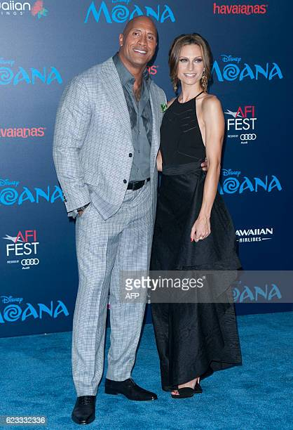 Dwayne Johnson and wife Lauren Hashian attend the Disney Premiere 'Moana' in Hollywood California on November 14 2016 / AFP / LILLY LAWRENCE