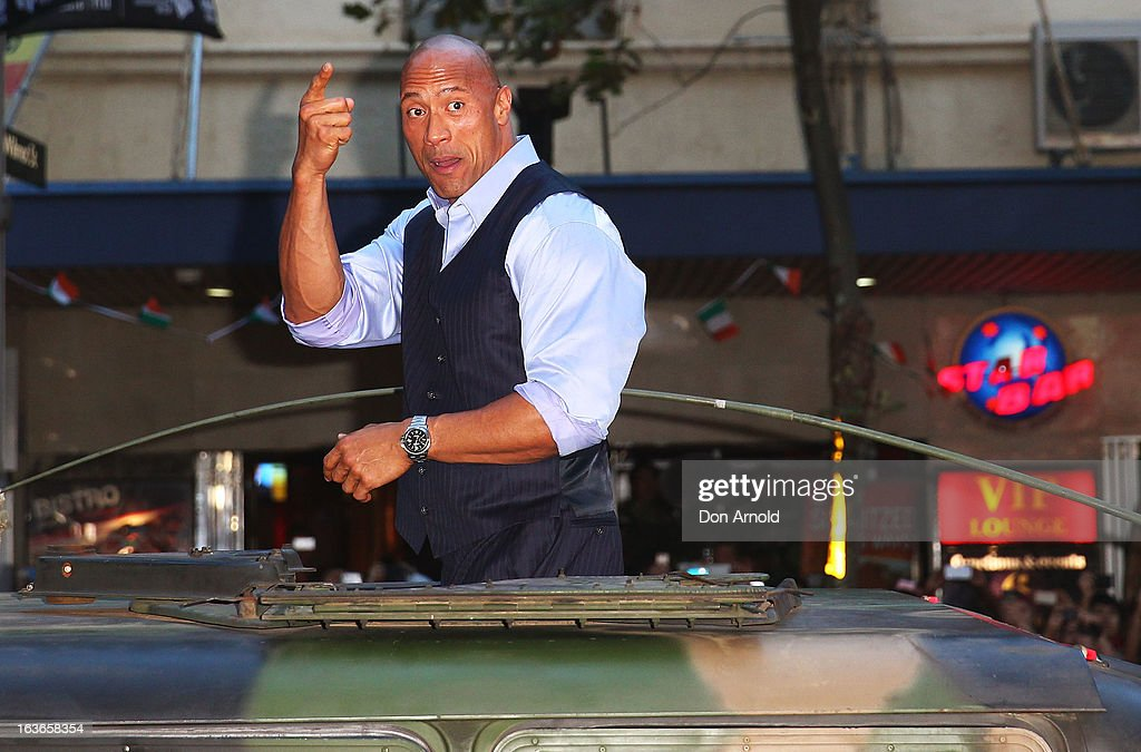 <a gi-track='captionPersonalityLinkClicked' href=/galleries/search?phrase=Dwayne+Johnson&family=editorial&specificpeople=210704 ng-click='$event.stopPropagation()'>Dwayne Johnson</a> arrives at the 'G.I.Joe: Retaliation' - Australian Premiere at Event Cinemas George Street on March 14, 2013 in Sydney, Australia.