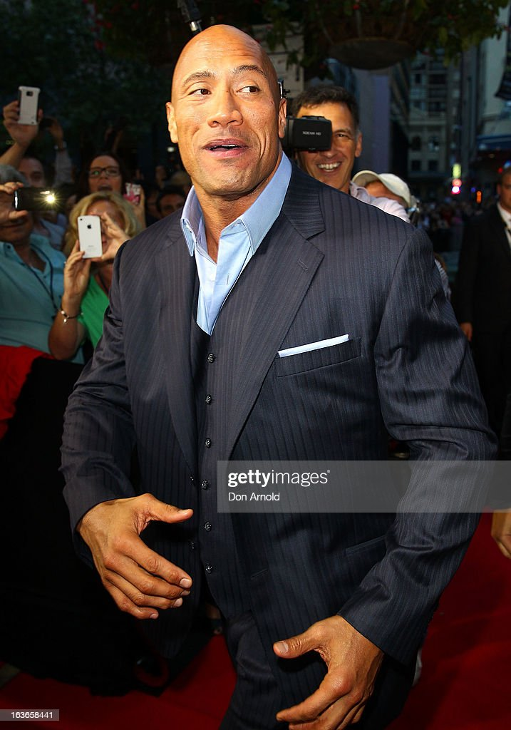 Dwayne Johnson arrives at the 'G.I.Joe: Retaliation' - Australian Premiere at Event Cinemas George Street on March 14, 2013 in Sydney, Australia.