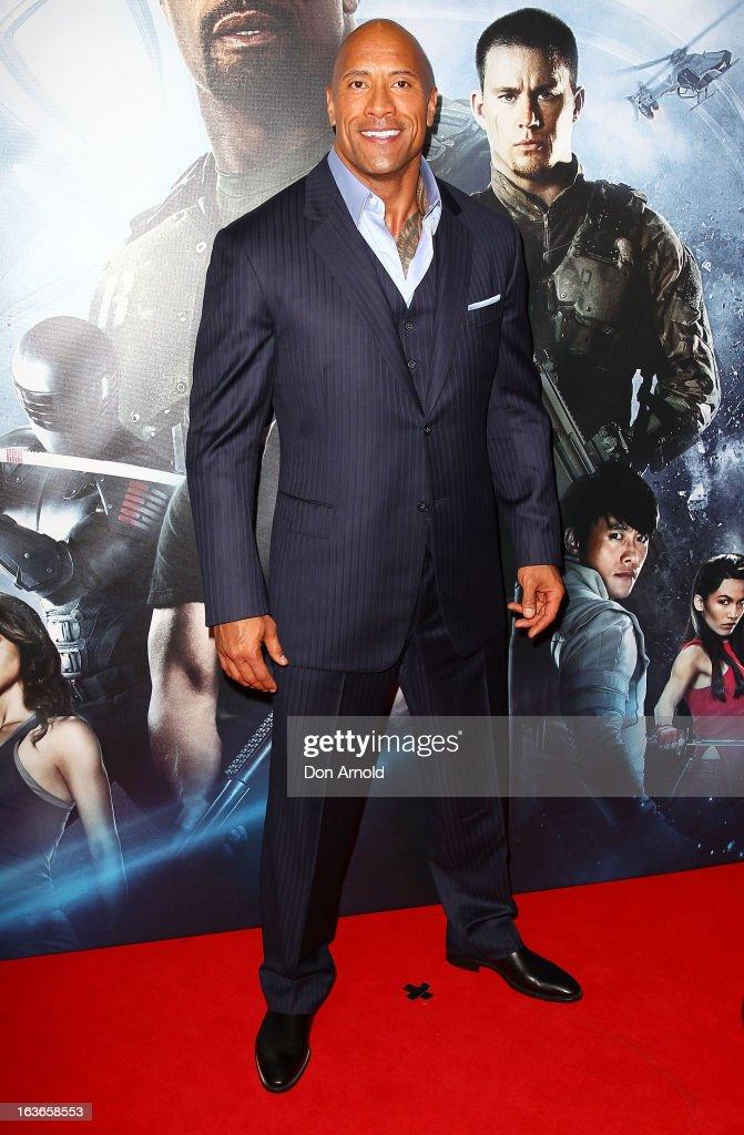 Dwayne Johnson arrives at the 'G.I.Joe: Retaliation' - Australian Premiere at Event Cinemas George Street on March 14, 2013 in Sydney, Australia.
