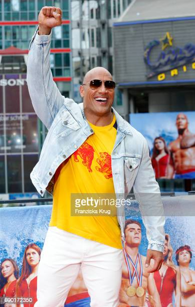 Dwayne Johnson attends the 'Baywatch' Photo Call in Berlin on May 30 2017 in Berlin Germany