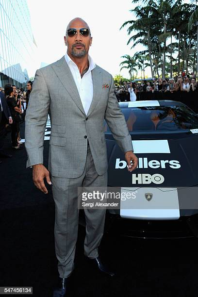 Dwayne Johnson attends the HBO Ballers Season 2 Red Carpet Premiere and Reception on July 14 2016 at New World Symphony in Miami Beach Florida
