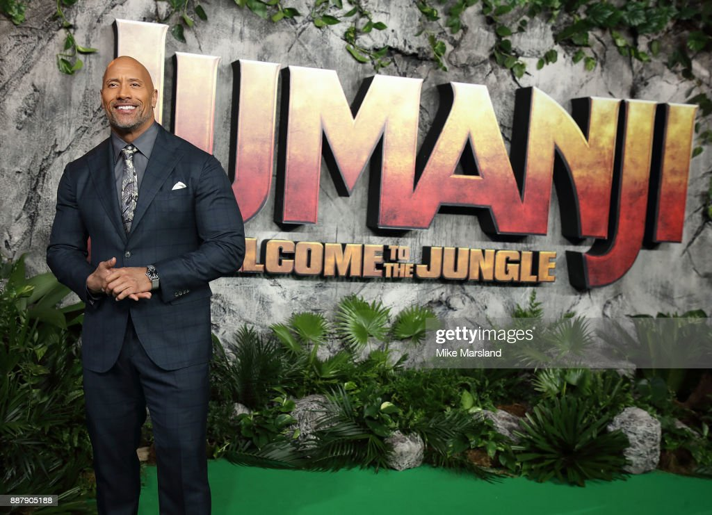 Dwayne Johnson attends the 'Jumanji: Welcome To The Jungle UK premiere held at Vue West End on December 7, 2017 in London, England.