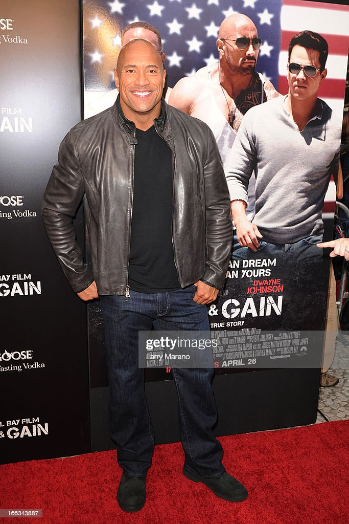 <a gi-track='captionPersonalityLinkClicked' href=/galleries/search?phrase=Dwayne+Johnson&family=editorial&specificpeople=210704 ng-click='$event.stopPropagation()'>Dwayne Johnson</a> attends the 'Pain & Gain' premiere on April 11, 2013 in Miami Beach, Florida.