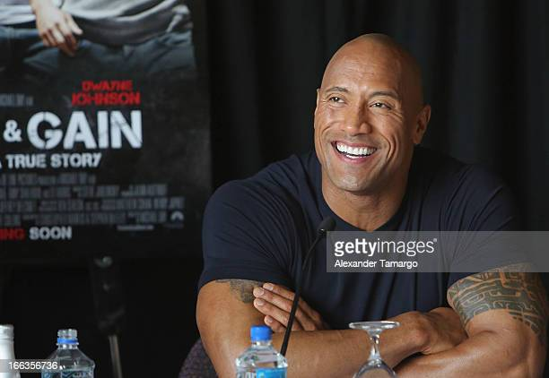Dwayne Johnson attends the press conference of the Miami Premiere of 'Pain Gain' at Mandarin Oriental on April 11 2013 in Miami Florida