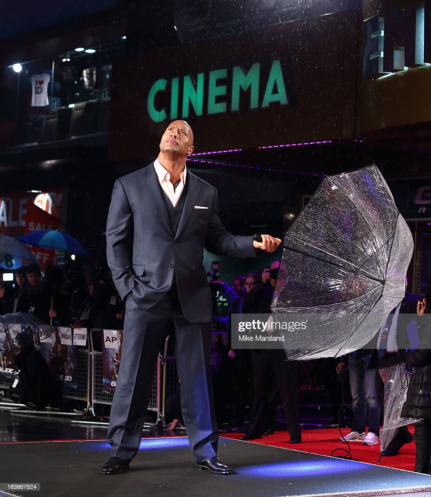 Dwayne Johnson attends the UK Premiere of G.I. Joe: Retaliation at Empire Leicester Square on March 18, 2013 in London, England.