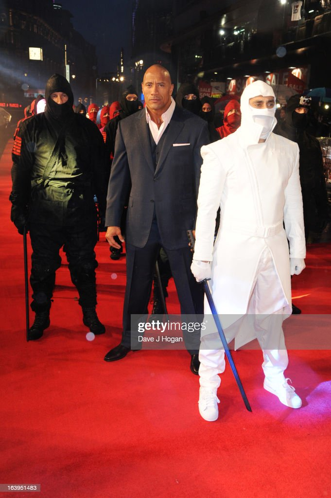 Dwayne Johnson attends the UK premiere of 'GI Joe Retaliation' at The Empire Leicester Square on March 18 2013 in London England