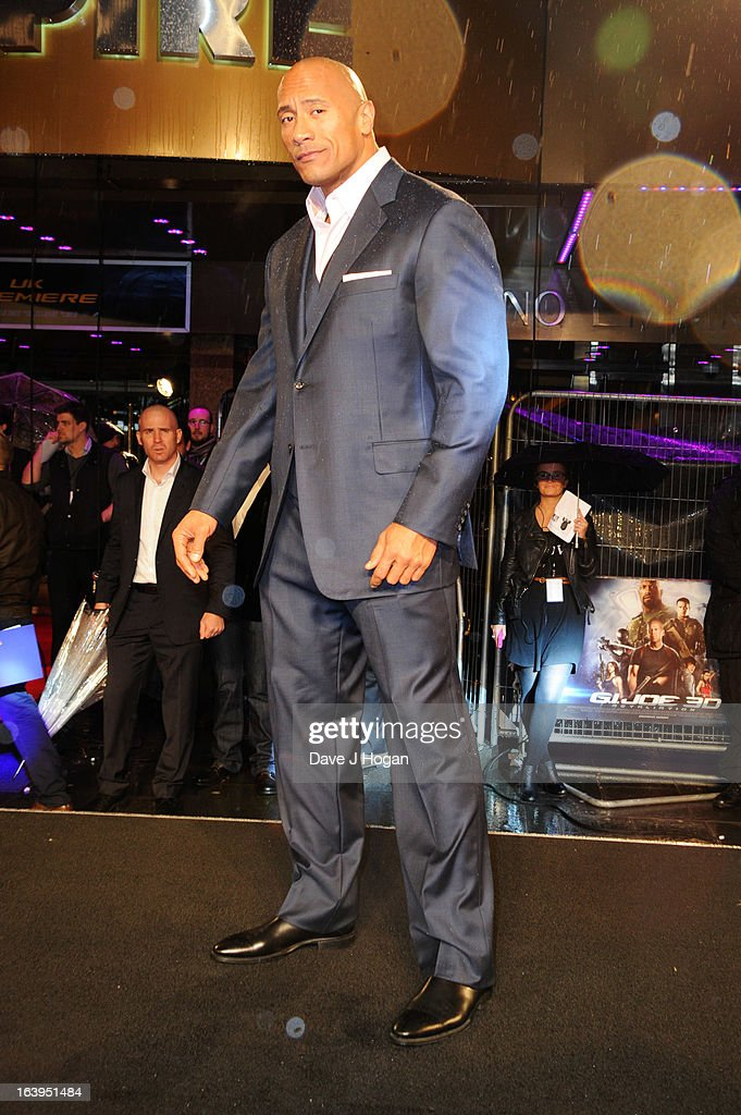 Dwayne Johnson attends the UK premiere of 'G.I. Joe: Retaliation' at The Empire Leicester Square on March 18, 2013 in London, England.