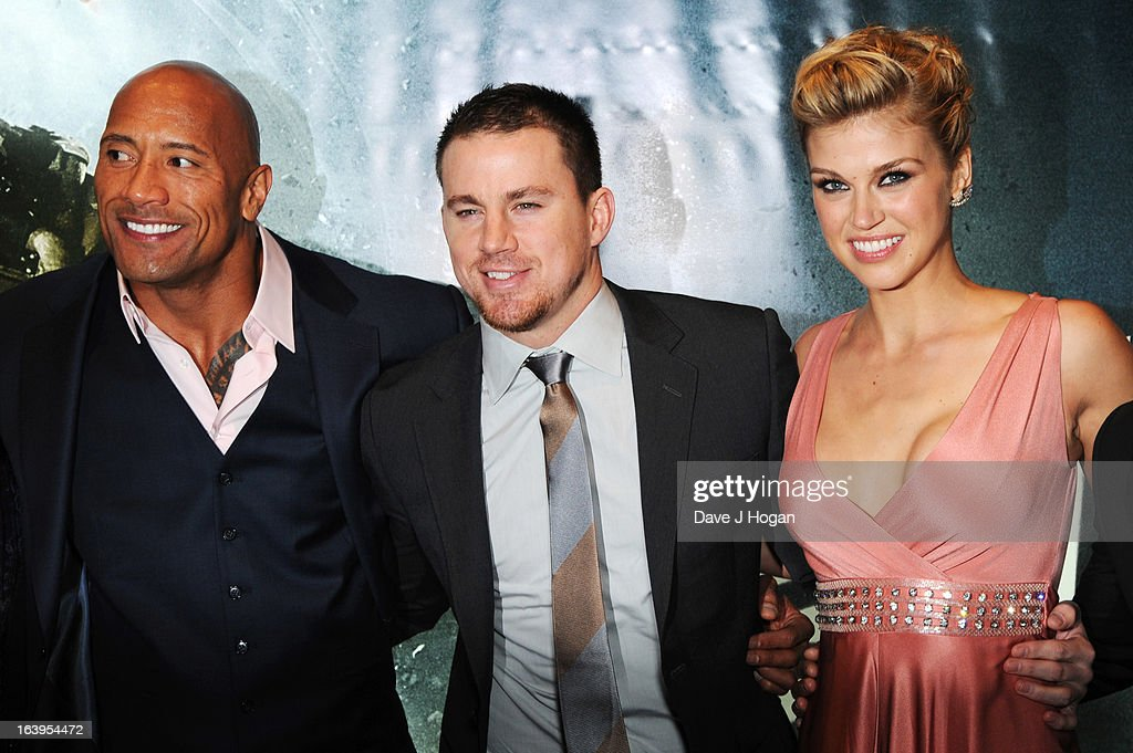 <a gi-track='captionPersonalityLinkClicked' href=/galleries/search?phrase=Dwayne+Johnson&family=editorial&specificpeople=210704 ng-click='$event.stopPropagation()'>Dwayne Johnson</a>, <a gi-track='captionPersonalityLinkClicked' href=/galleries/search?phrase=Channing+Tatum&family=editorial&specificpeople=549548 ng-click='$event.stopPropagation()'>Channing Tatum</a> and <a gi-track='captionPersonalityLinkClicked' href=/galleries/search?phrase=Adrianne+Palicki&family=editorial&specificpeople=632846 ng-click='$event.stopPropagation()'>Adrianne Palicki</a> attend the UK premiere of 'G.I. Joe: Retaliation' at The Empire Leicester Square on March 18, 2013 in London, England.