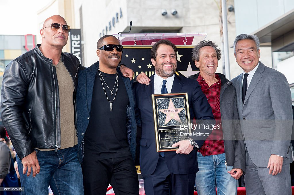 Dwayne Johnson, Eddie Murphy, Brett Ratner, Brian Grazer and Kevin Tsujihara attend the ceremony honoring Brett Ratner with a Star on The Hollywood Walk of Fame on January 19, 2017 in Hollywood, California.