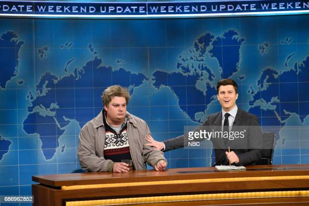LIVE 'Dwayne Johnson' Episode 1725 Pictured Bobby Moynihan as Drunk Uncle Colin Jost during 'Weekend Update' in Studio 8H on May 20 2017