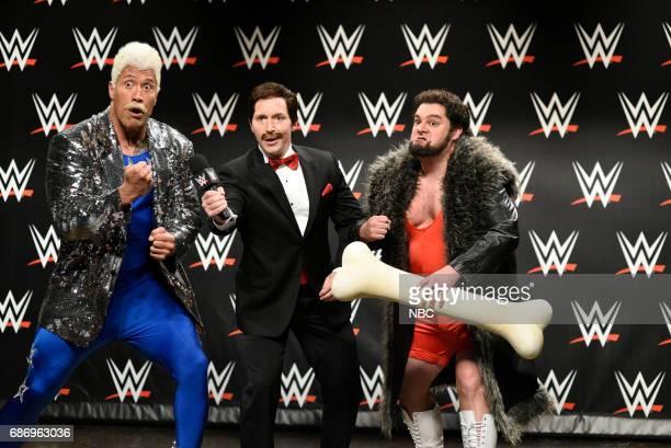 LIVE 'Dwayne Johnson' Episode 1725 Pictured Dwayne Johnson as Koko WatchOut Beck Bennett as an announcer Bobby Moynihan as Trashyard Mutt during 'WWE...