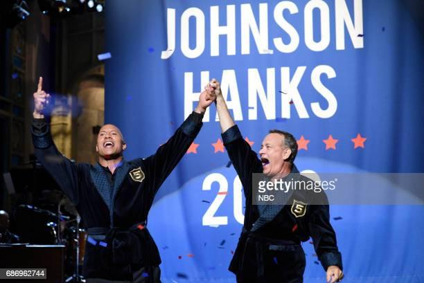 LIVE 'Dwayne Johnson' Episode 1725 Pictured Dwayne Johnson Tom Hanks during 'Opening Monologue' in Studio 8H on May 20 2017