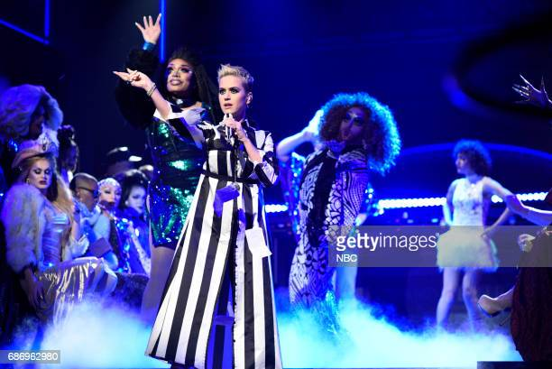 LIVE 'Dwayne Johnson' Episode 1725 Pictured Katy Perry performs 'Swish Swish' in Studio 8H on May 20 2017