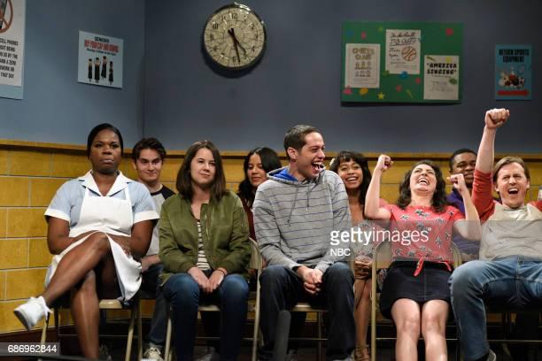 LIVE 'Dwayne Johnson' Episode 1725 Pictured Leslie Jones as a cafeteria worker with Pete Davidson Melissa Villaseñor and Alex Moffat as students...