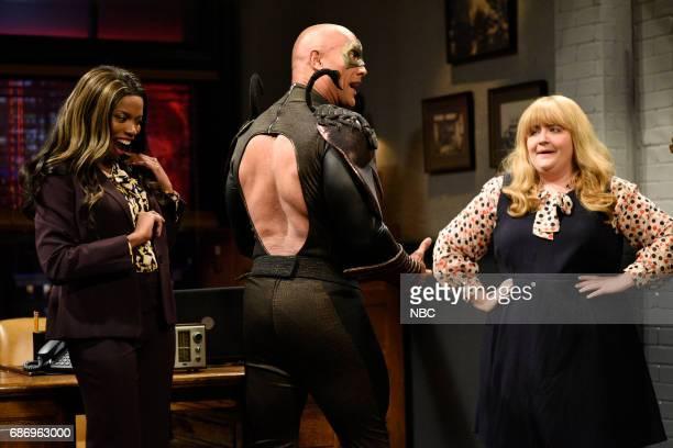 LIVE 'Dwayne Johnson' Episode 1725 Pictured Sasheer Zamata Dwayne Johnson as Steve/Scorpio Aidy Bryant during 'Scorpio' in Studio 8H on May 20 2017