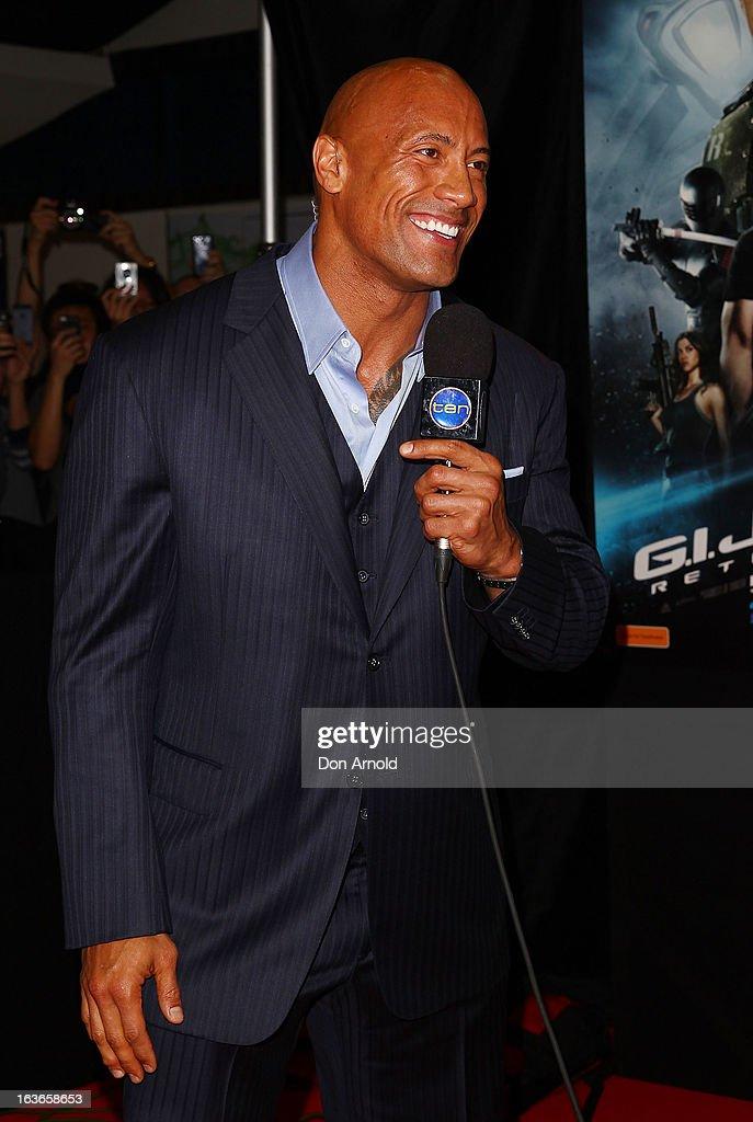 Dwayne Johnson is interviewed at the 'G.I.Joe: Retaliation' - Australian Premiere at Event Cinemas George Street on March 14, 2013 in Sydney, Australia.
