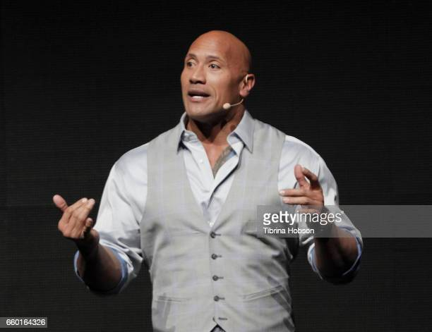 Dwayne Johnson speaks at Paramount Pictures' presentation highlighting its 2017 summer and beyond during CinemaCon at The Colosseum at Caesars Palace...