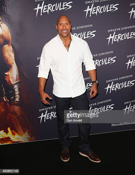 Dwayne Johnson walks the red carpet ahead of a screening of Hercules at Event Cinemas George Street on June 19 2014 in Sydney Australia