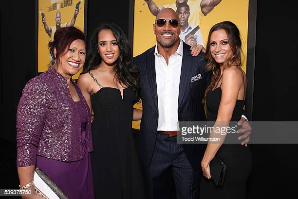 Dwayne Johnson with his mother Ata Johnson daughter Simone Alexandra Johnson and girlfriend Lauren Hashian attend the premiere Of Warner Bros...
