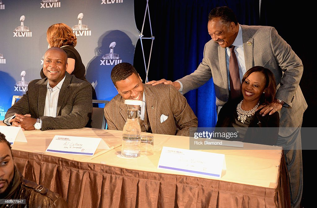 Dwayne Maddox, A.J. Calloway, Jesse Jackson, and Alicia Matthews attend the Super Bowl Gospel Celebration press conference at Super Bowl XLVIII Media Center, Sheraton Times Square on January 30, 2014 in New York City.