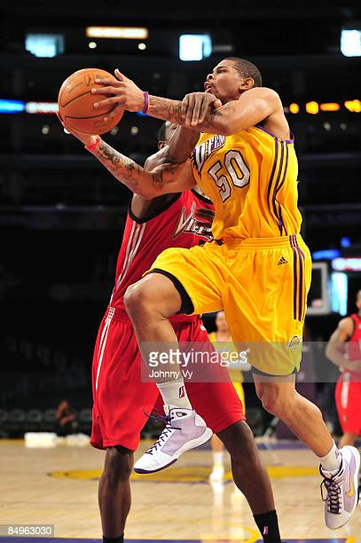 Dwayne Mitchell of the Los Angeles DFenders is fouled on his way to the basket during a game against the Rio Grande Valley Vipers at Staples Center...