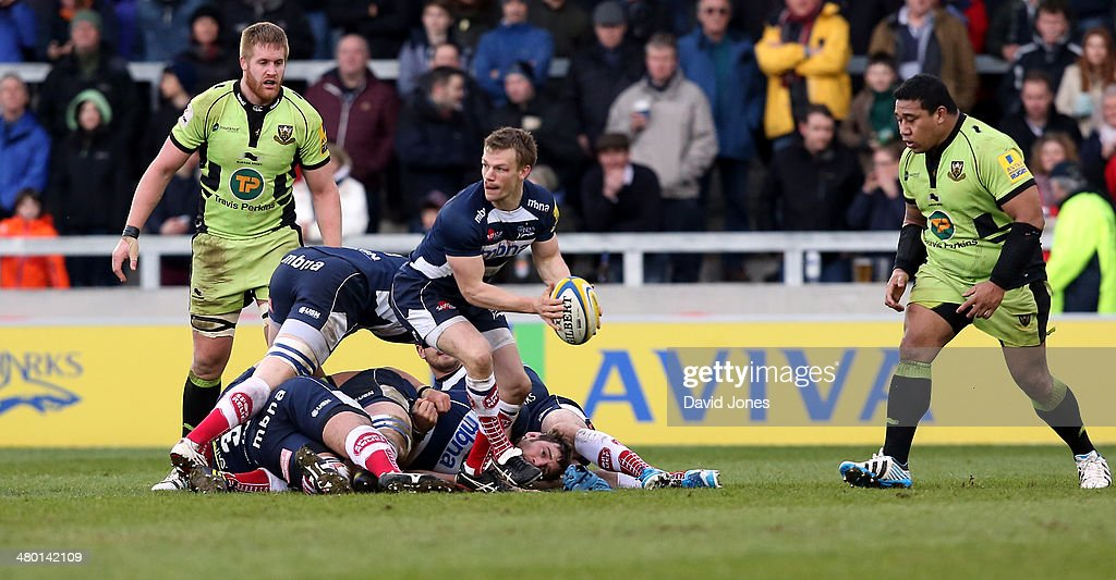 Dwayne Peel of Sale Sharks gets the ball away from a maul during the Aviva Premiership match between Northampton Saints and Sale Sharks at the A J Bell Stadium, on March 22, 2014 in Salford, England
