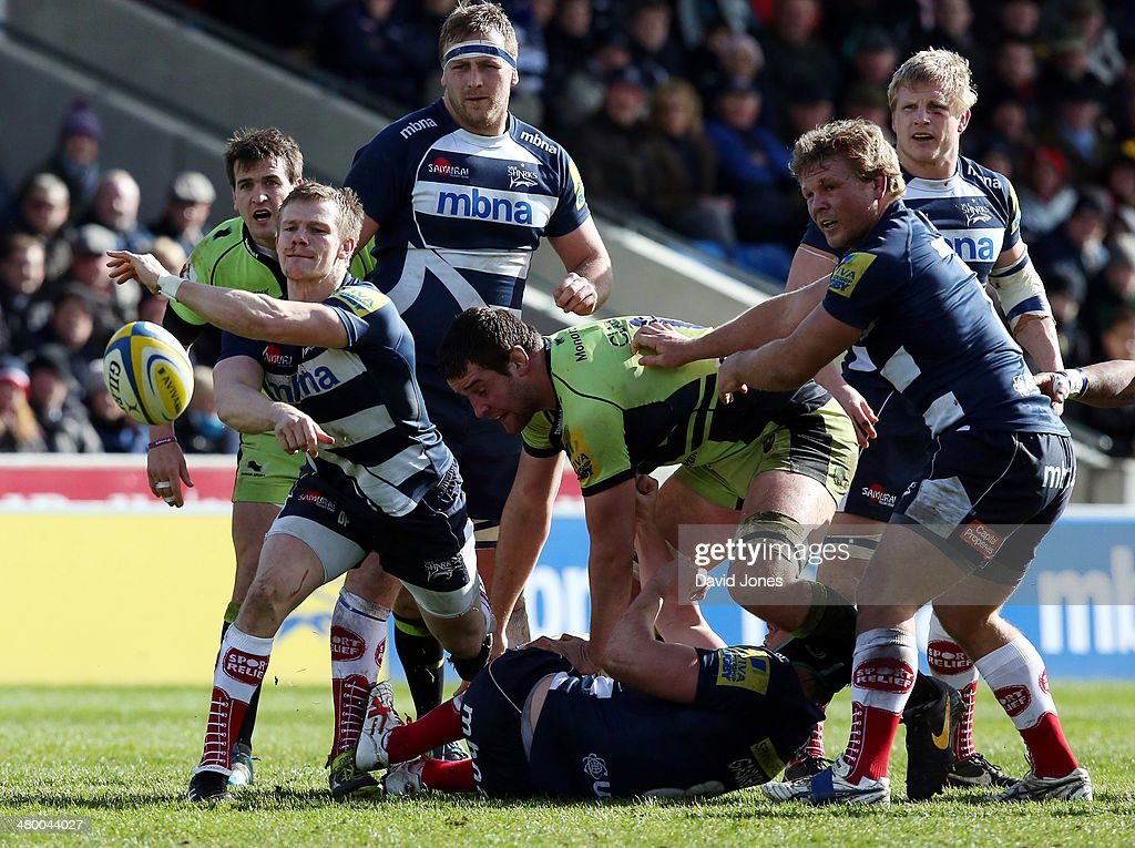 Dwayne Peel of Sale Sharks passes from a maul during the Aviva Premiership match between Sale Sharks and Northampton Saints at A J Bell Stadium on March 22, 2014 in Salford, England