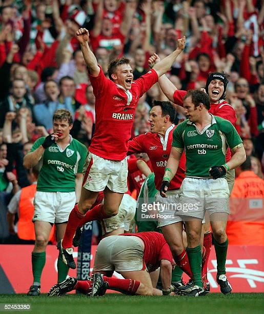 Dwayne Peel the Welsh scrumhalf celebrates at the final whistle as Wales' win the Grand Slam after defeating Ireland in the RBS Six Nations...