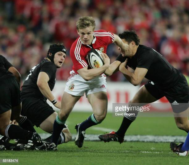 Dwayne Peelof the Lions charges forward during the second test match between The New Zealand All Blacks and the British and Irish Lions at the...
