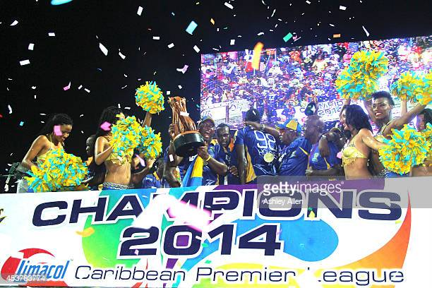 Dwayne Smith of the Barbados Tridents celebrate after the Limacol Caribbean Premier League 2014 final match between Guyana Amazon Warriors and...