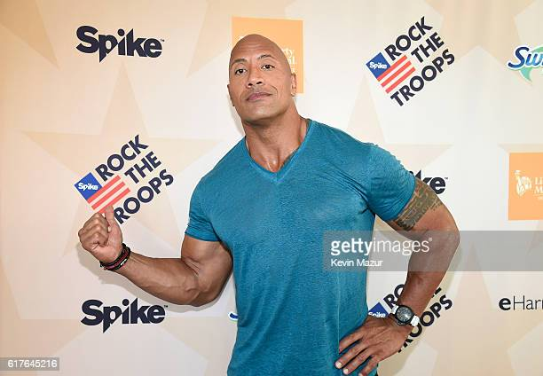Dwayne 'The Rock' Johnson at 'Spike's Rock the Troops' event held at Joint Base Pearl Harbor Hickam on October 22 2016 in Honolulu Hawaii 'Spike's...