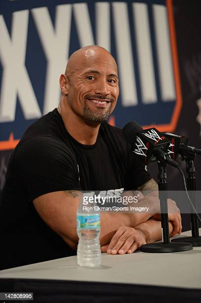 Dwayne ''The Rock'' Johnson during a press conference before his match against John Cena during WrestleMania XXVIII at Sun Life Stadium on April 1...
