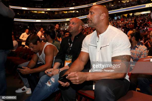 Dwayne 'The Rock' Johnson is seen in attendance during the UFC 214 event at Honda Center on July 29 2017 in Anaheim California
