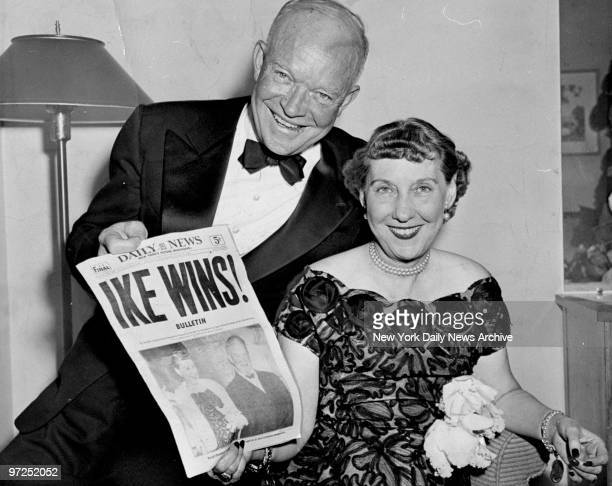 Dwight and Mamie Eisenhower at Hotel Commodore after his presidential victory