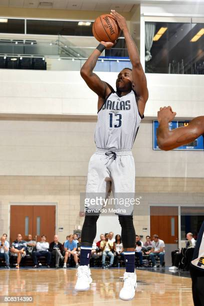 Dwight Buycks of the Dallas Mavericks shoots the ball during the game against the Indiana Pacers during the 2017 Orlando Summer League on July 4 2017...