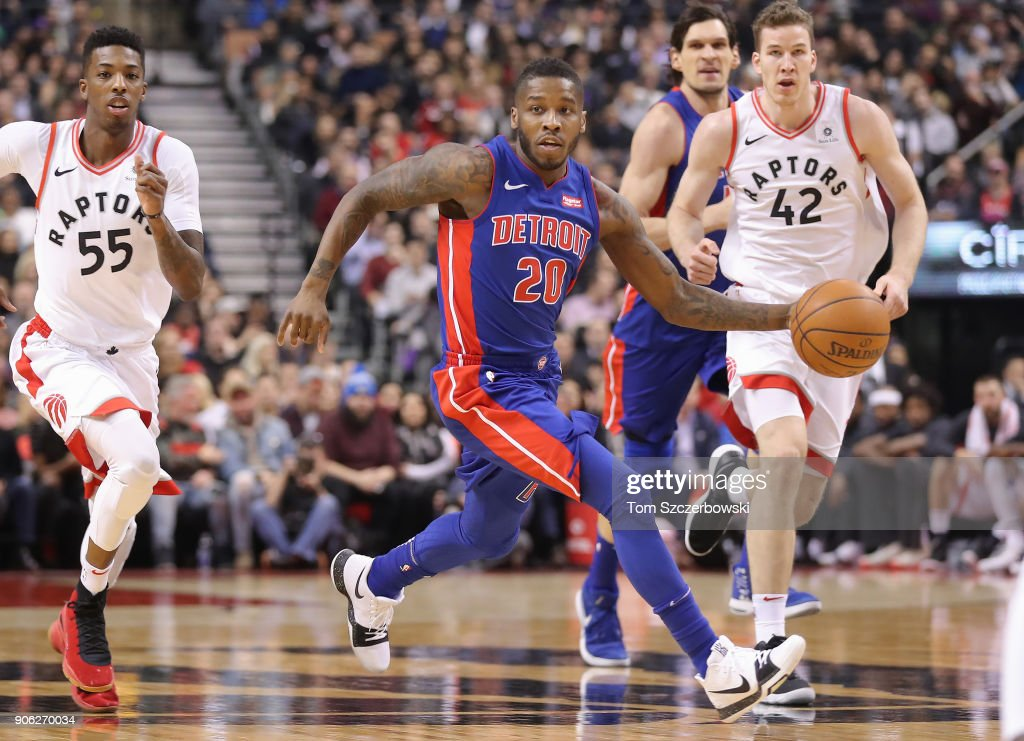 Dwight Buycks #20 of the Detroit Pistons dribbles up the court against the Toronto Raptors at Air Canada Centre on January 17, 2018 in Toronto, Canada.