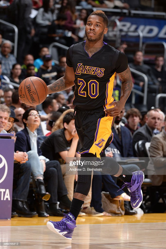 <a gi-track='captionPersonalityLinkClicked' href=/galleries/search?phrase=Dwight+Buycks&family=editorial&specificpeople=6699182 ng-click='$event.stopPropagation()'>Dwight Buycks</a> #20 of the Los Angeles Lakers handles the ball against the Minnesota Timberwolves on April 10, 2015 at STAPLES Center in Los Angeles, California.