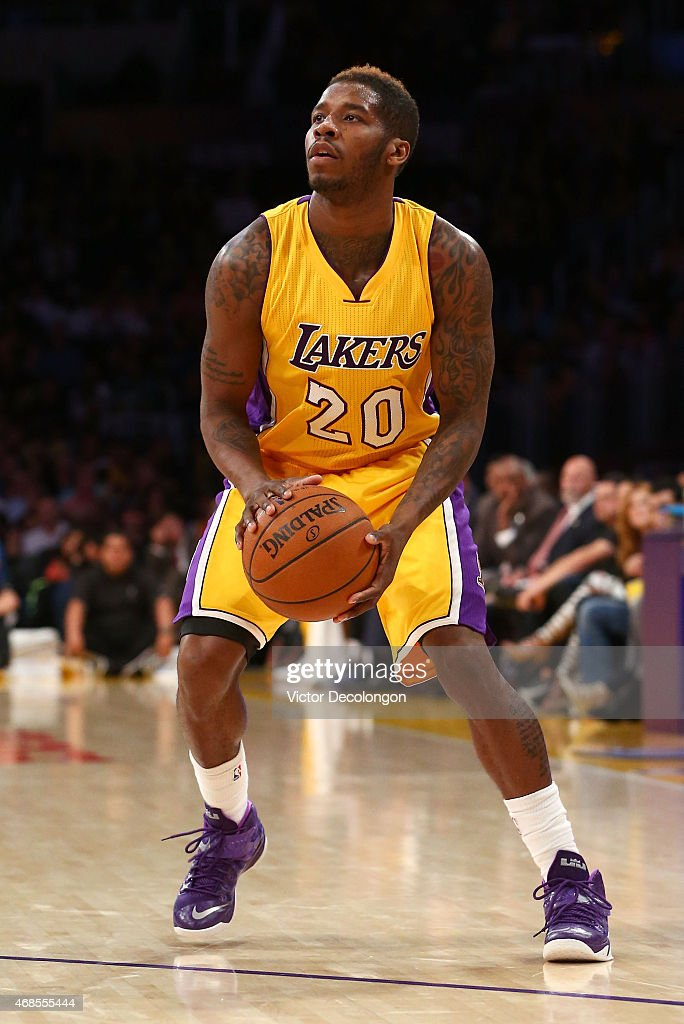 <a gi-track='captionPersonalityLinkClicked' href=/galleries/search?phrase=Dwight+Buycks&family=editorial&specificpeople=6699182 ng-click='$event.stopPropagation()'>Dwight Buycks</a> #20 of the Los Angeles Lakers sets up for a jump shot in the second half of the NBA game against the Portland Trail Blazers at Staples Center on April 3, 2015 in Los Angeles, California. The Blazers defeated the Lakers 107-77.