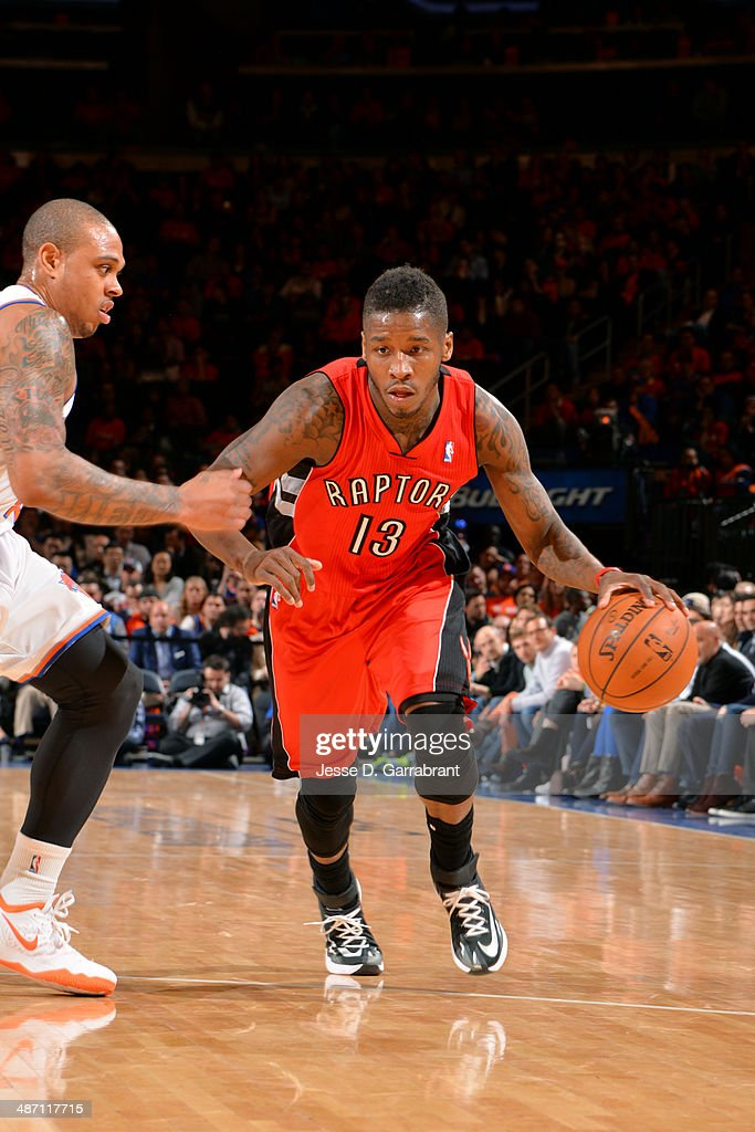 <a gi-track='captionPersonalityLinkClicked' href=/galleries/search?phrase=Dwight+Buycks&family=editorial&specificpeople=6699182 ng-click='$event.stopPropagation()'>Dwight Buycks</a> #13 of the Toronto Raptors drives against the New York Knicks during the game on April 16, 2014 at Madison Square Garden in New York City, New York.