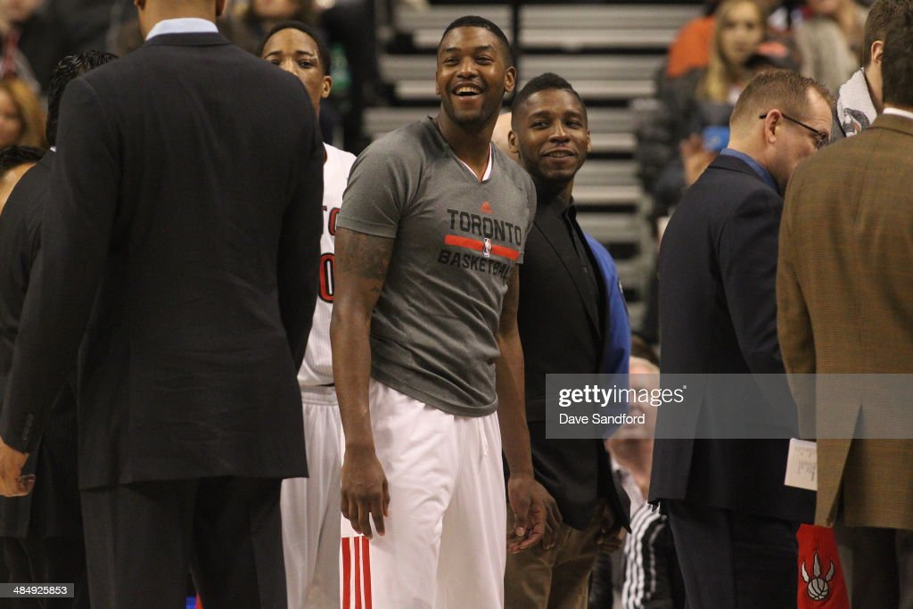 <a gi-track='captionPersonalityLinkClicked' href=/galleries/search?phrase=Dwight+Buycks&family=editorial&specificpeople=6699182 ng-click='$event.stopPropagation()'>Dwight Buycks</a> #13 of the Toronto Raptors smiles during the game against the New York Knicks at the Air Canada Centre on April 11, 2014 in Toronto, Ontario, Canada.