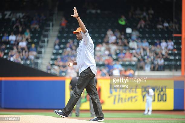 Dwight 'Doc' Gooden former pitcher for the New York Mets throws out the Ceremonial First Pitch prior to the game between the New York Mets and San...