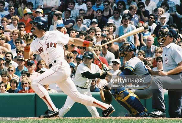 Dwight Evans right fielder for the Boston Red Sox batting at Fenway Park in Boston MA 1988